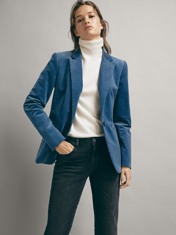 SLIM-FIT BLAZER I FLØYEL