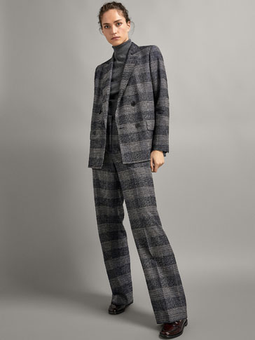 Slim Fit Check Textured Wool Blazer by Massimo Dutti