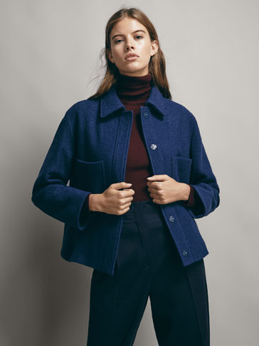 NAVY 100% WOOL JACKET WITH POCKETS