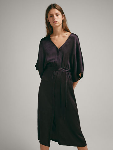 SILK VELVET KAFTAN WITH TIE BELT
