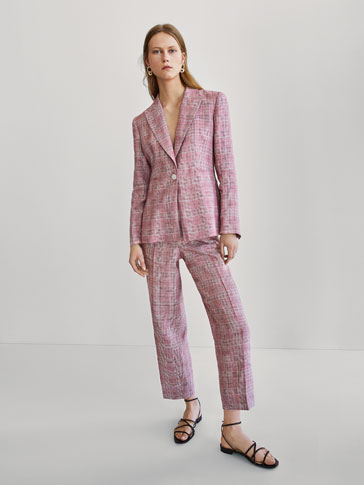 SLIM FIT CHECKED LINEN SUIT BLAZER