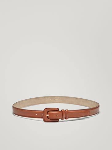 LEATHER BELT WITH DOUBLE BELT LOOP
