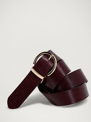 Reversible Mock Croc Leather Belt by Massimo Dutti