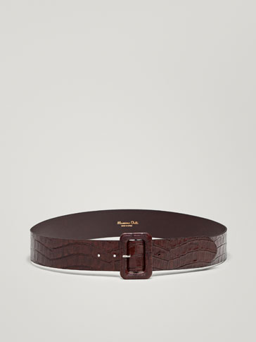MOCK CROCLEATHER BELT