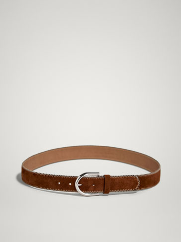 SPLIT SUEDE BELT WITH CONTRAST TOPSTITCHING