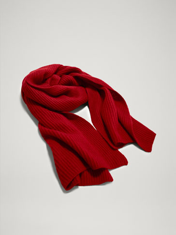 RIBBED 100% WOOL SCARF