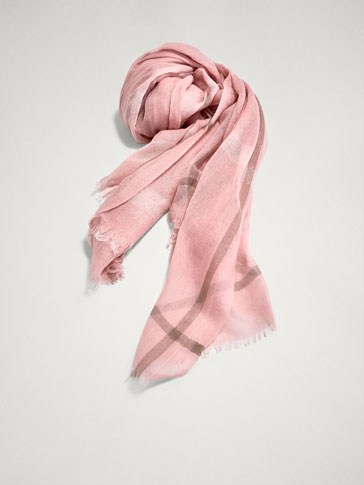 CHECK PRINT 100% WOOL SCARF