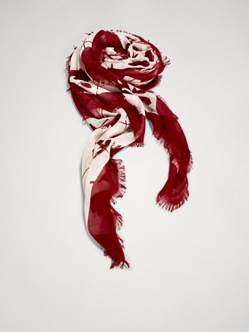 FLORAL PRINT SCARF WITH CONTRASTING BORDER
