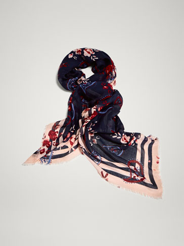 Paisley Print Scarf With Contrasting Stripes by Massimo Dutti