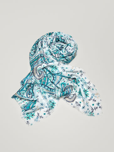 PAISLEY AND FLORAL PRINT SCARF