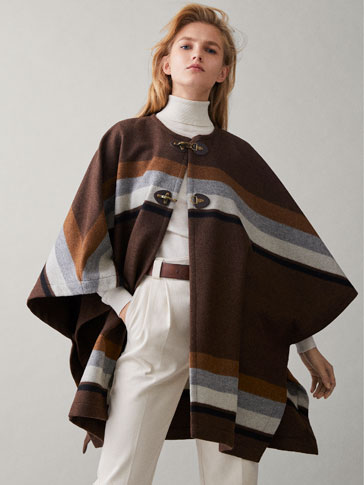 STRIPED WOOL CAPE