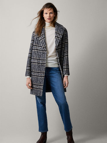 CHECK TEXTURED COAT