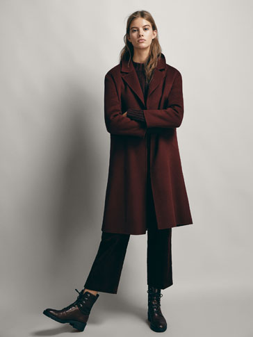 SOLID-COLOURED WOOL COAT