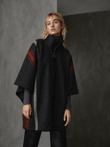 WINTER CAPSULE 100% WOOL STRIPED CAPE