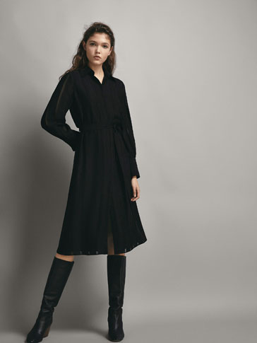 BLACK STRIPE TEXTURED SHIRT DRESS WITH TIE DETAIL