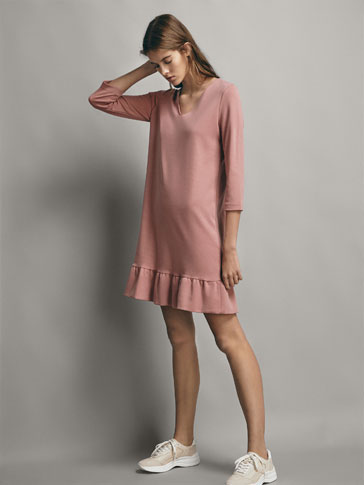 RUFFLED LYOCELL DRESS