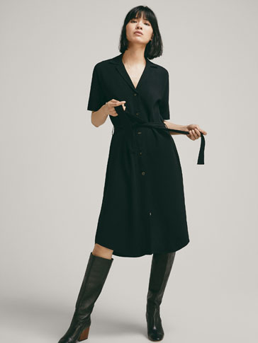 CREPE SHIRT DRESS WITH BELT