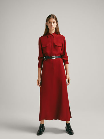 SHIRT DRESS WITH LAPEL COLLAR