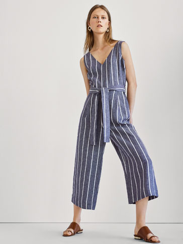 STRIPED JUMPSUIT WITH DARTS DETAIL