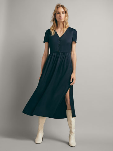 NAVY DRESS WITH BUTTONS