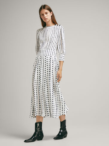 Pleated Dress With Two Tone Print by Massimo Dutti