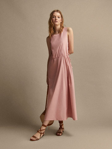 COTTON DRESS WITH CRISS-CROSS BACK