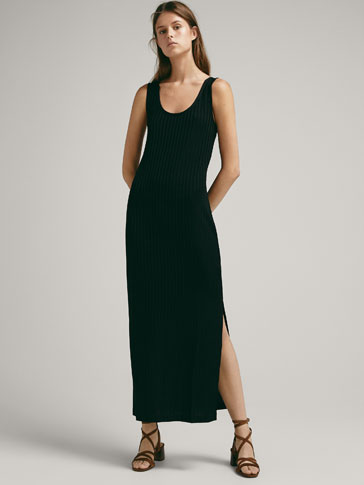 Ribbed Dress With Slit Detail by Massimo Dutti