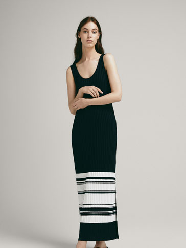 STRIPED RIBBED DRESS