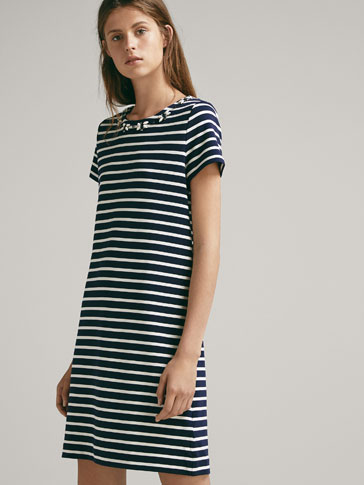 STRIPED DRESS WITH BEJEWELLED NECKLINE