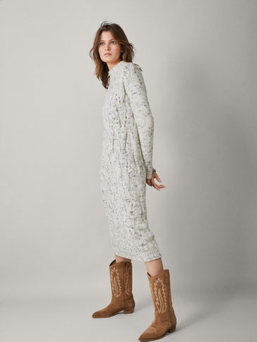 FLECKED CABLE-KNIT WOOL DRESS
