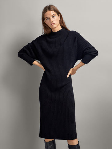 100% Cashmere Ribbed Dress by Massimo Dutti