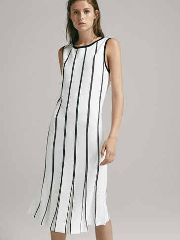 STRIPED DRESS WITH PLEATED HEM