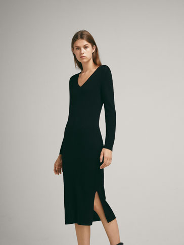 RIBBED WOOL DRESS