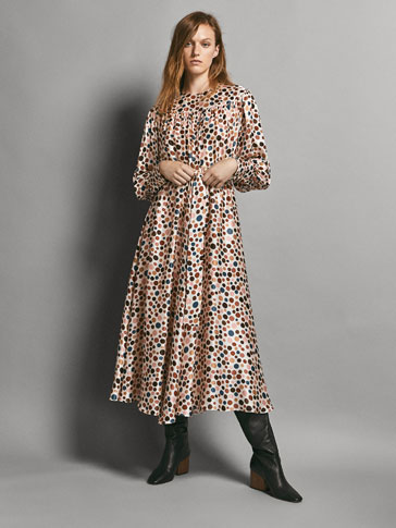 LIMITED EDITION 100% SILK POLKA DOT PRINT DRESS
