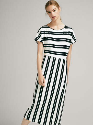 STRIPED DRESS WITH WRAP SKIRT
