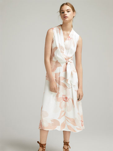 FLORAL PRINT DRESS WITH SIDE TIE