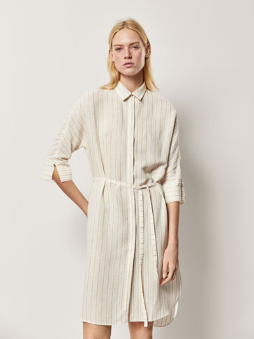STRIPED OVERSIZED LINEN BLOUSE WITH GEM DETAIL