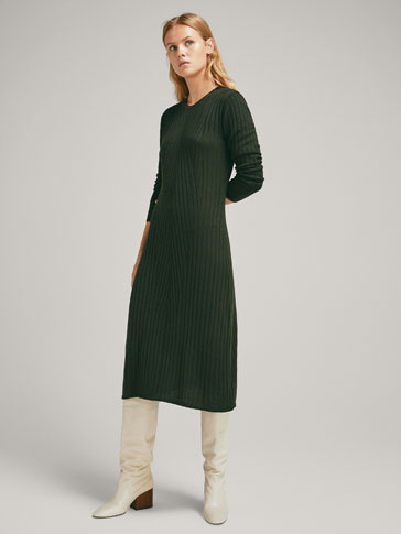 TEXTURED RIBBED WOOL DRESS