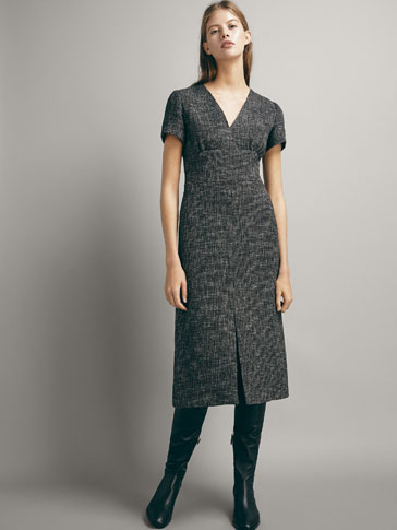 TEXTURED BOUCLÉ DRESS