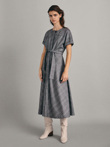 100% WOOL CHECK DRESS WITH BELT