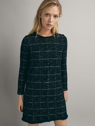 CHECK TEXTURED COTTON DRESS