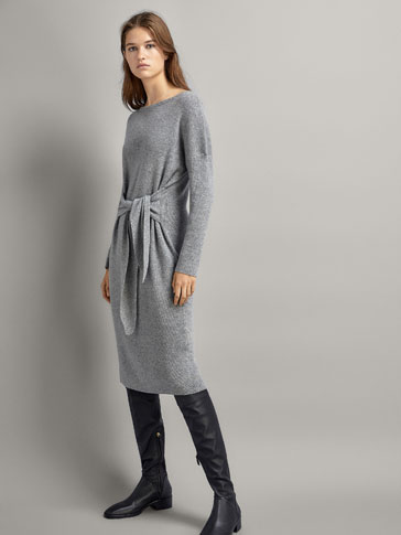 Knit Wool Dress With Front Tie by Massimo Dutti