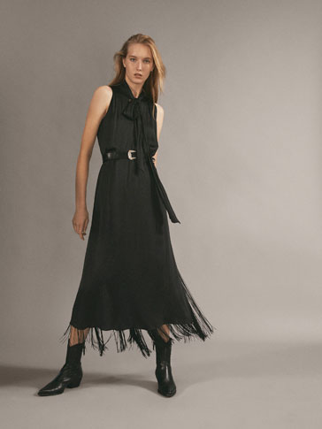 FRINGED DRESS WITH BOW