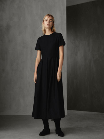 WINTER CAPSULE PLEATED AND SEAMED WOOL DRESS