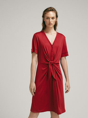 LYOCELL DRESS WITH FRONT KNOT