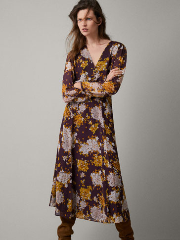 Floral Print Dress by Massimo Dutti