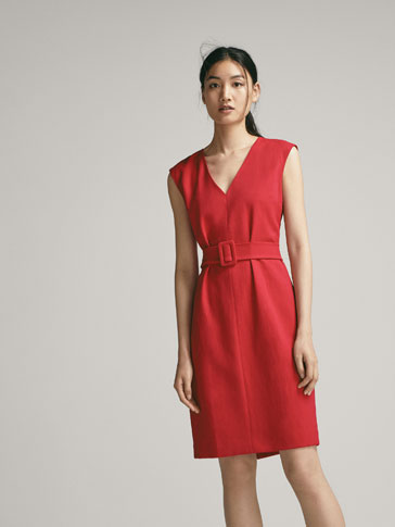 DRESS WITH BELT DETAIL