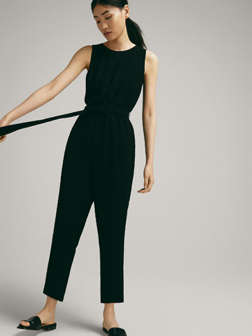 PLAIN JUMPSUIT WITH TIE BELT