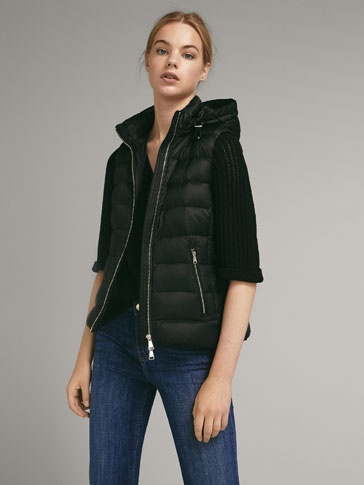 FEATHER GILET WITH DETACHABLE HOOD