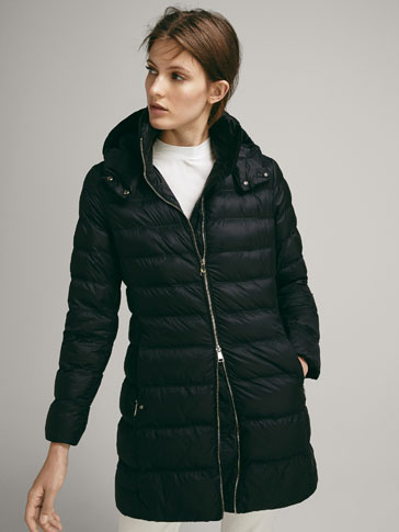 LONG QUILTED JACKET WITH REMOVABLE HOOD